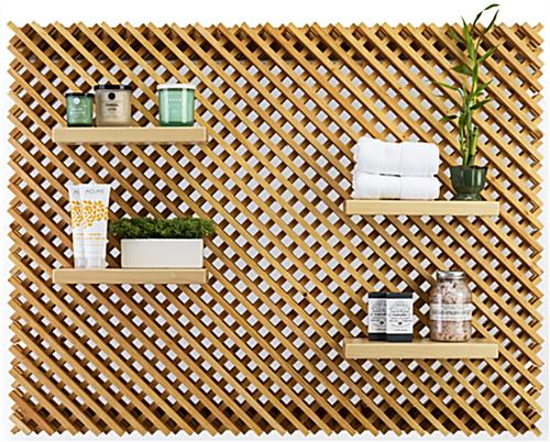 Large Retail Lattice Slatwall Panel Wall Set with 4 Shelves