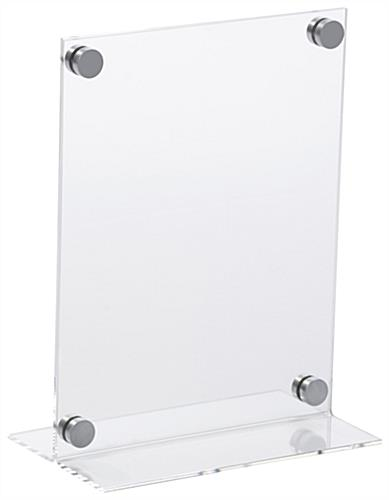 "Workshop Series 8 5"" x 11"" Acrylic Sign Holder with Silver Standoffs - Clear"