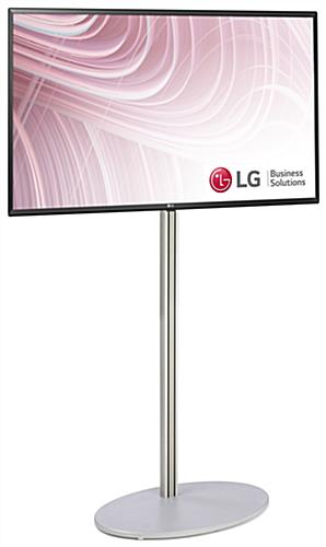 Silver electronic signage display with satin finished base and 43 inch tv