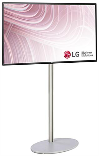 51 inch wide digital signage with 49 inch tv and stand in satin finish