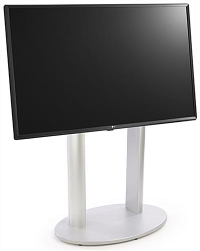 Floor standing electronic digital signage stand features a user friendly content management system