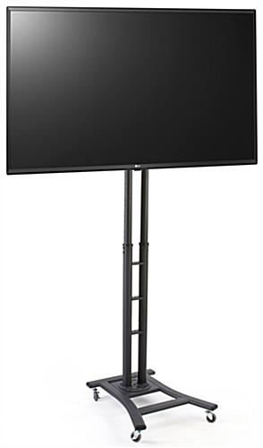 Mobile digital sign monitor includes four locking caster wheels and 43 inch LG TV