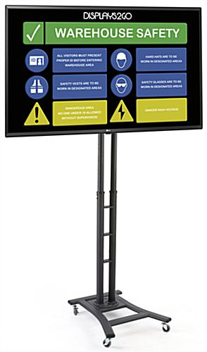 Mobile digital sign monitor with black powder-coated finish and 43 inch LG TV