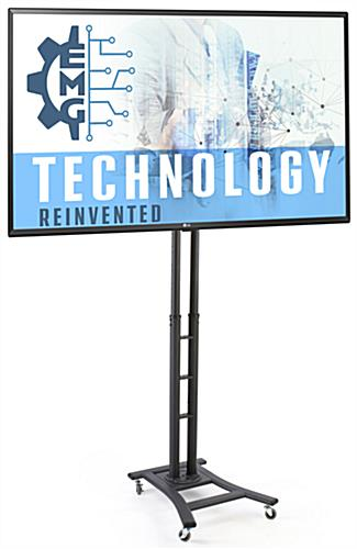 51 x 96 portable digital signage with black powder-coated finish and 49 inch LG TV