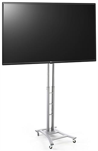 Digital signage trade show kit with 49 inch lg tv and silver satin base