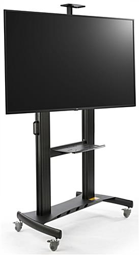 Mobile digital monitor display stand with built in adjustable shelf