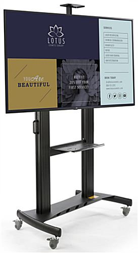 Mobile digital monitor display stand equipped with LG SuperSign content management