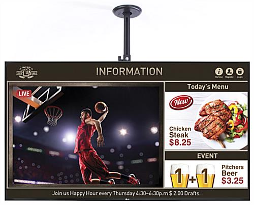 Electronic digital signage for ceiling