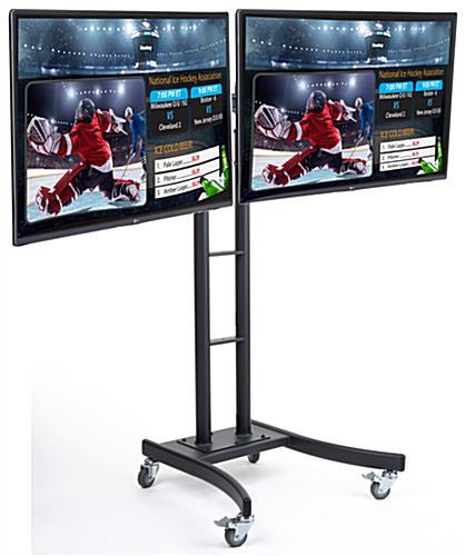 Rolling Digital Menu Board Side By Side Screen Mount