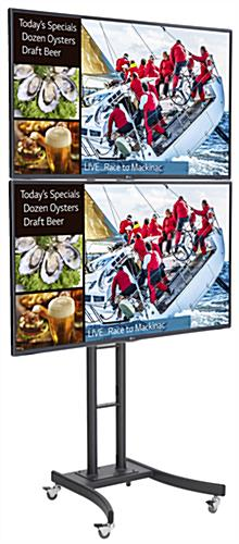 Dual Digital Sign Stand Supports 2 Screens