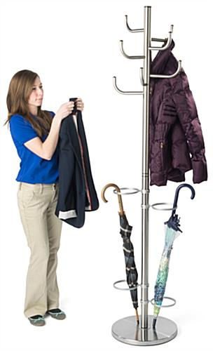 Weighted Metal Coat Rack with Umbrella Stand