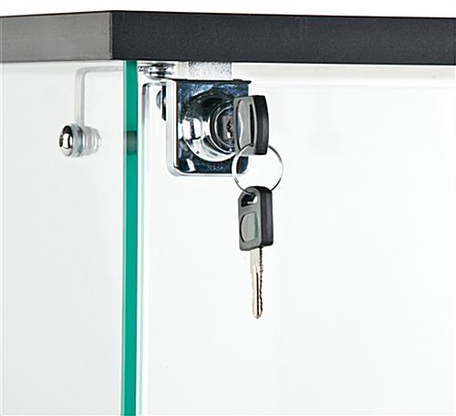 Countertop Glass Display Case Has A Hinged Door