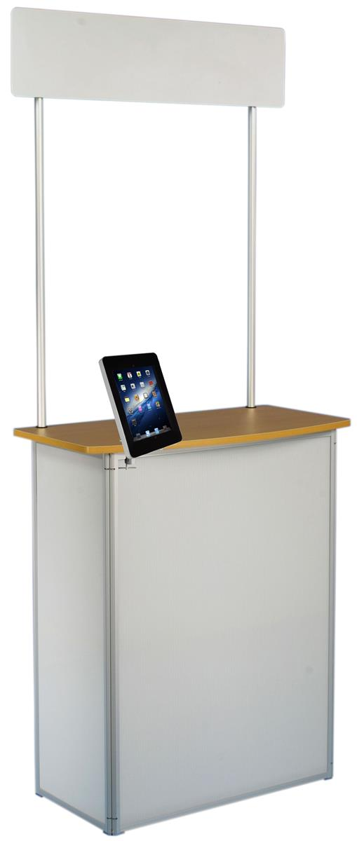 Exhibition Booth Counter : Promotional counter with ipad mount portable header