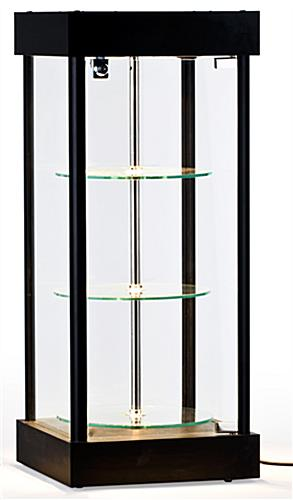 Spinning Glass Display Case Halogen Top Lights