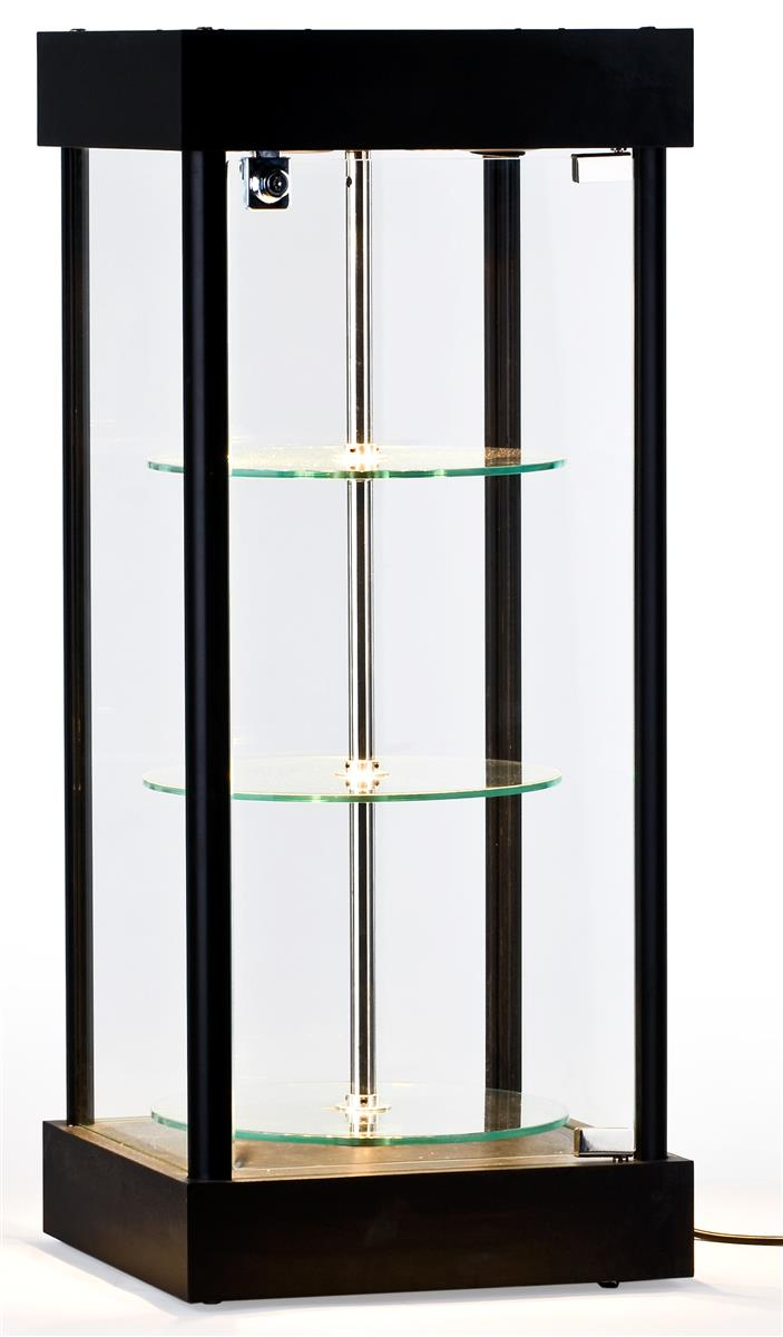 Spinning glass display case halogen top lights for Glass cabinet with lights
