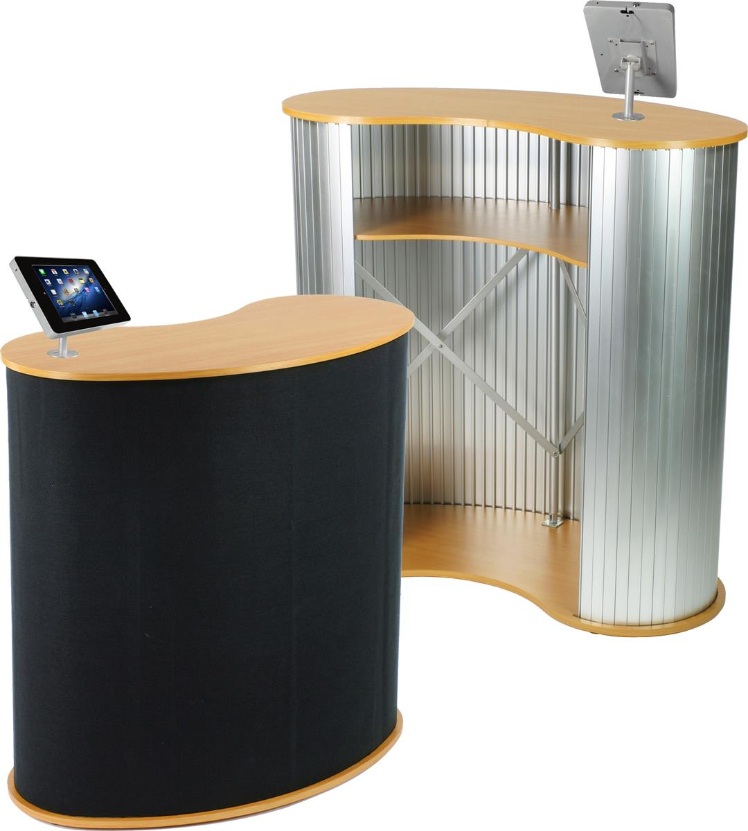 """Displays2go 40""""w Portable Counter with Silver Screw-in iP..."""