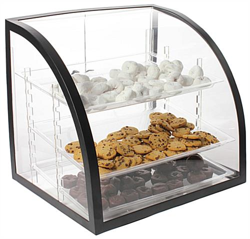 Bakery Display Case Curved Acrylic Bin W Trays Amp Rear Doors