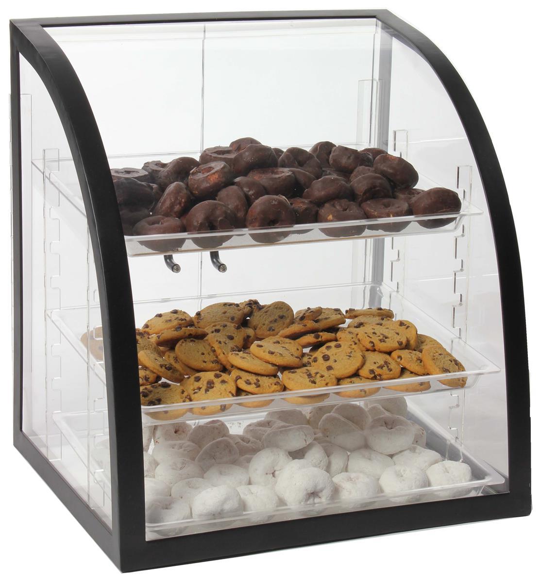 Displays2go Acrylic Food Display Case w/ (3) Plastic Tray...