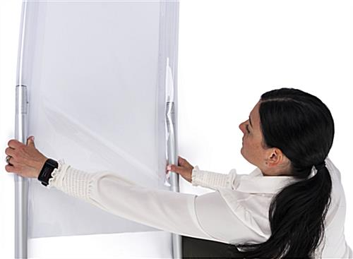 Personal safety partition with PVC vinyl that has an easy slide-on assembly