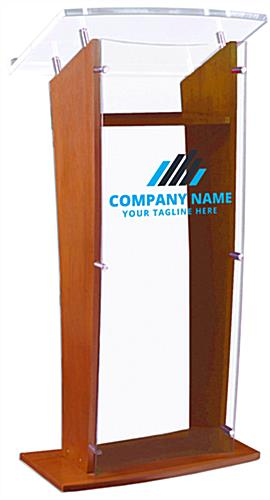 Acrylic Speaking Stand with Custom Printing, Maple