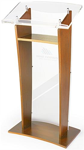 Acrylic Speaking Stand with Custom Printing and Interior Shelf