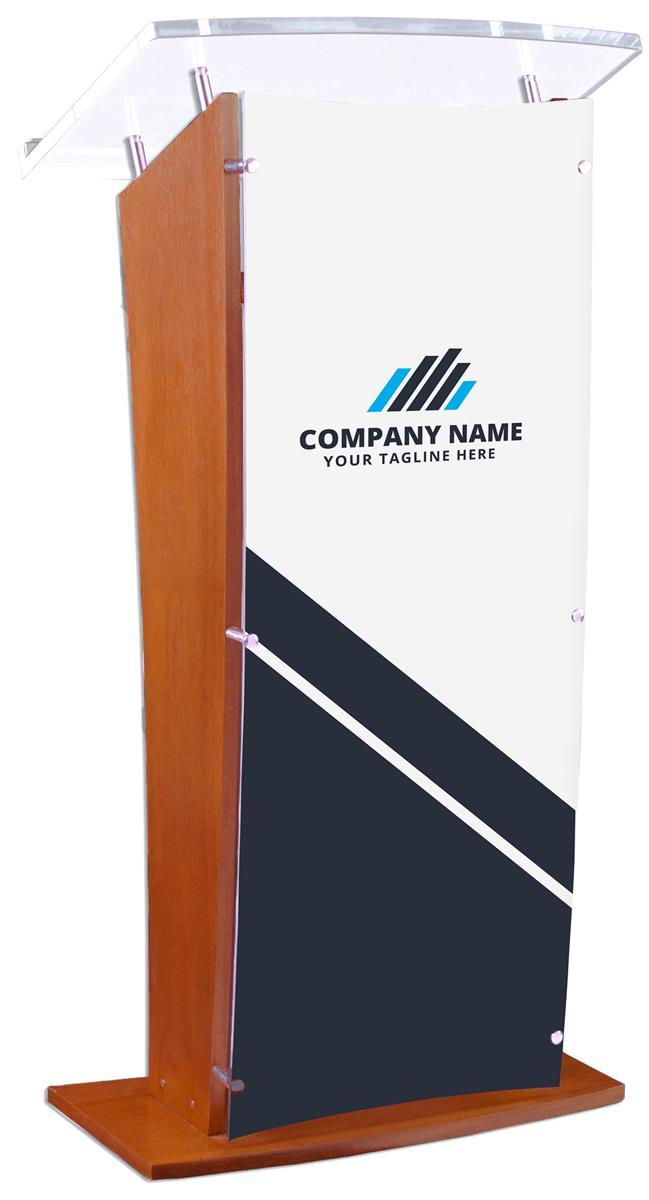 Wood Podium w/ Clear Acrylic Front Panel, UV Printed Custom Graphics - Maple