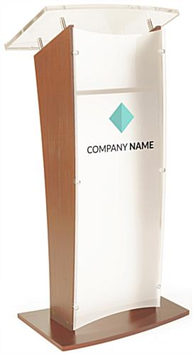 Customized Public Speaking Lectern with Frosted Front
