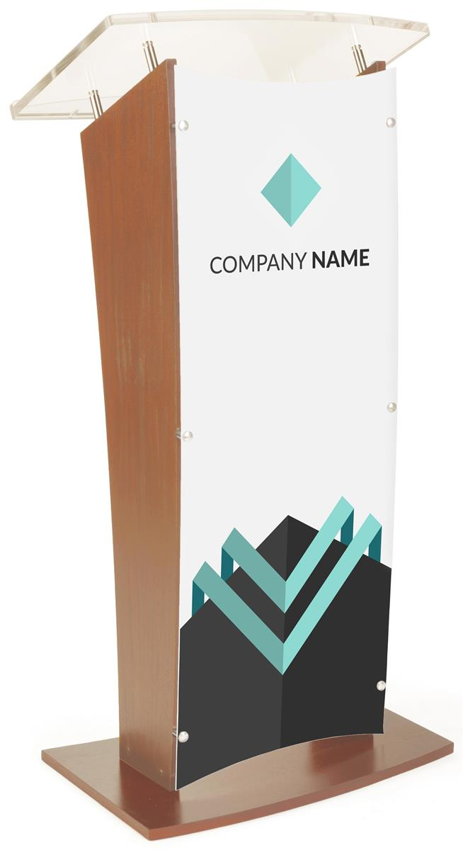Wood Podium w/ Frosted Acrylic Front Panel, UV Printed Custom Graphics -  Maple