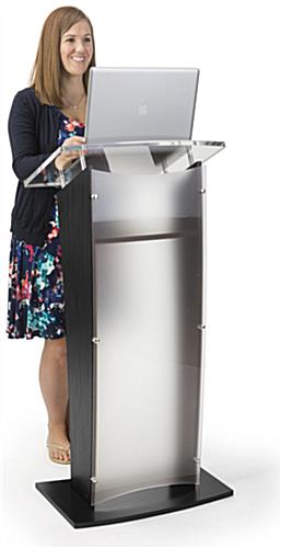 "48.75"" Tall Frosted Acrylic Public Speaking Stand"