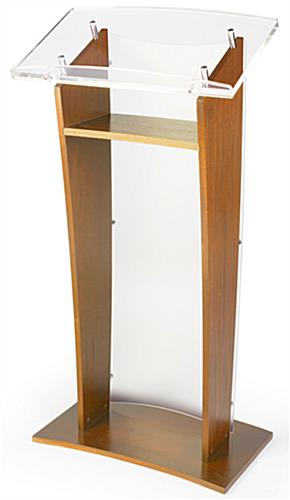 Clear Front Panel Maple Wood Public Speaking Stand