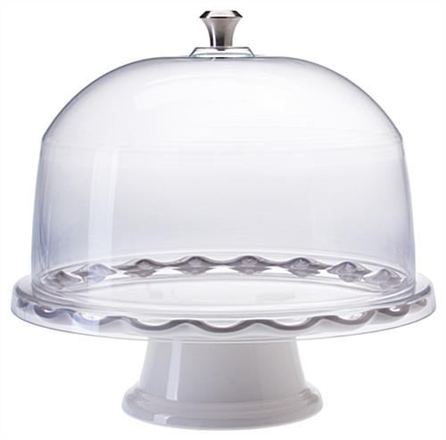 "11"" White Cake Stand with Dome"