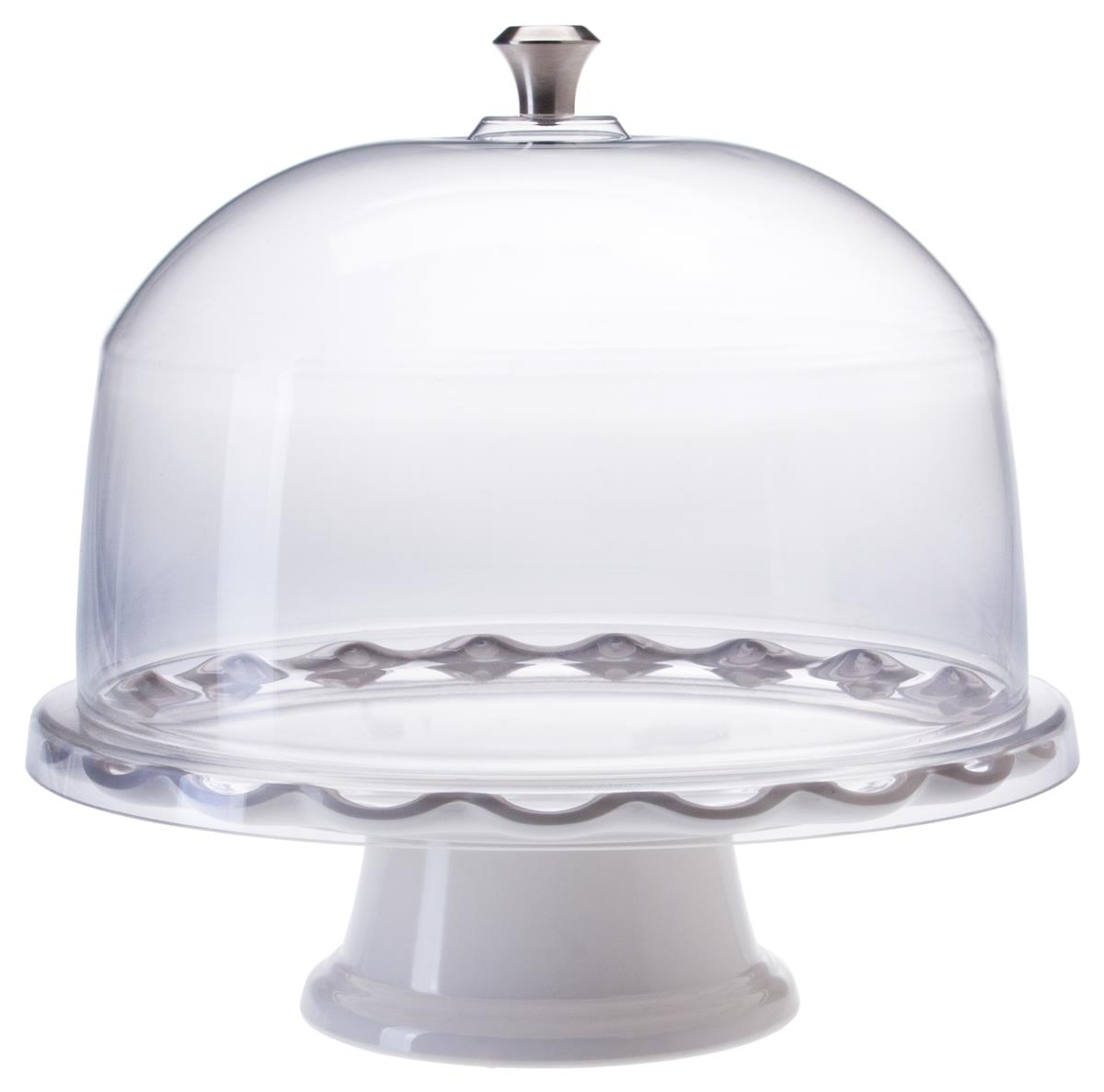 sc 1 st  Displays2go & 11\u201d White Cake Stand with Dome | Scalloped Edge Design