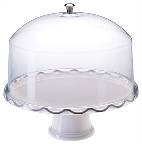 "13"" White Cake Stand with Dome"