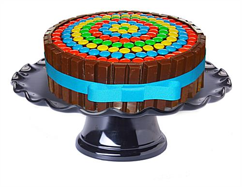 "13"" Black Cake Stand with Dome"