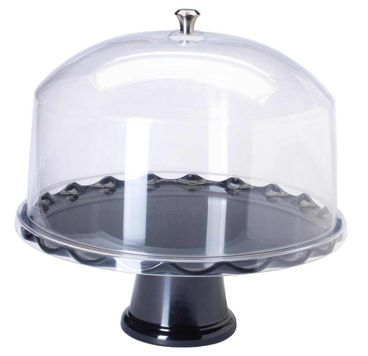 sc 1 st  Displays2go & 15u201d Black Cake Stand with Dome | Detachable Riser