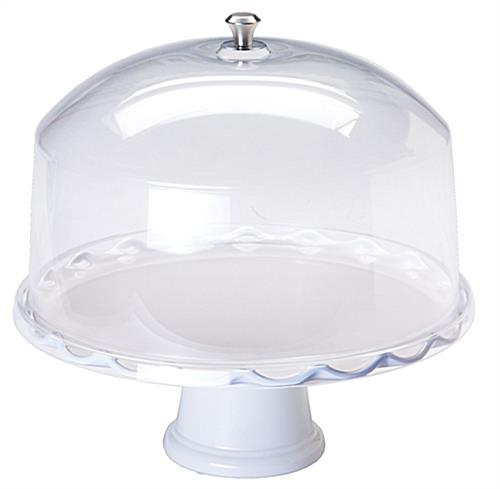"15"" White Cake Stand with Dome"