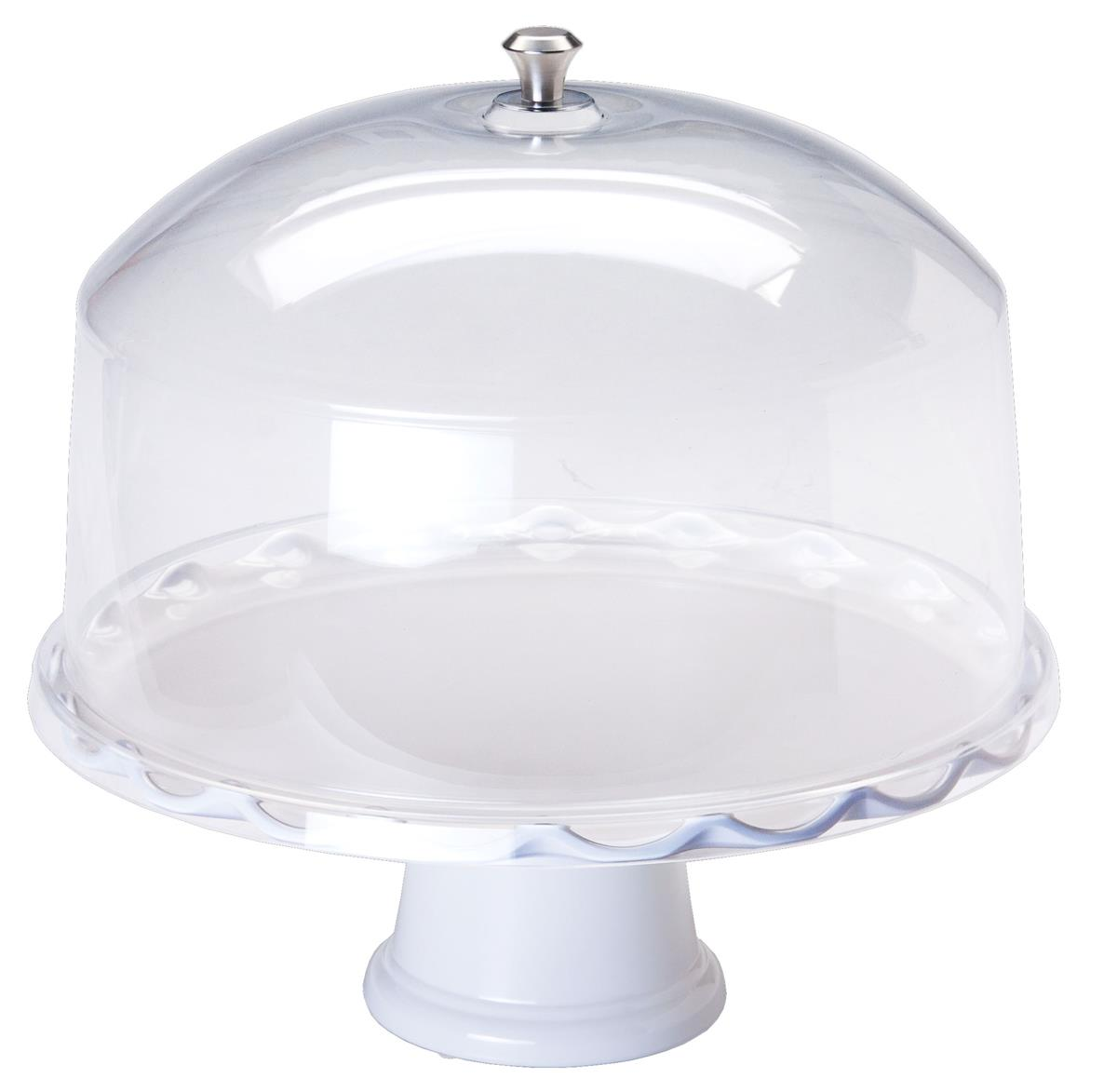 White Pedestal Cake Stand With Dome