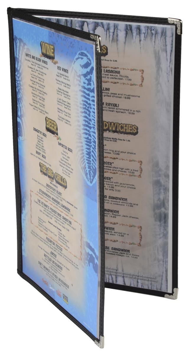Black Menu Cover Silver Corner Protector Amp Clear Acrylic
