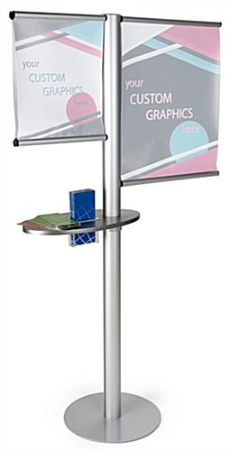 Multi rod banner display with literature holder acrylic pocket