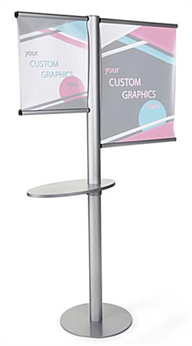 Offset banner pole with literature shelf without graphics