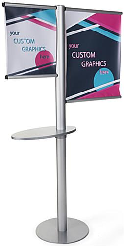 Offset custom banner stand with literature shelf with printing