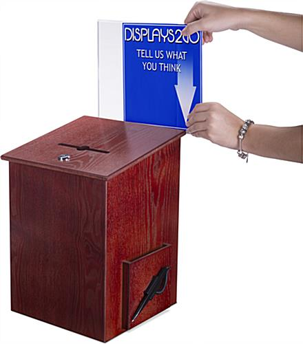 Wood Suggestion Box with Side Insert