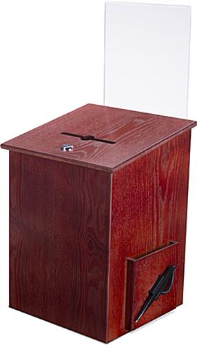 Wood Suggestion Box with Sign Holder in Red Mahogany