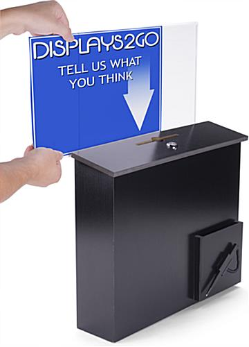Black Donation Box With Sign Holder Countertop Or Wall Mount