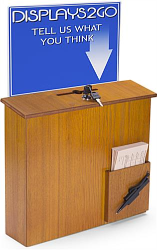 Wall Mounted Suggestion Box With Sign Holder Medium Oak