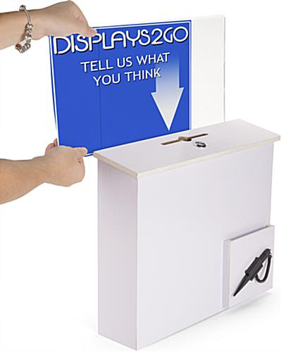 White Donation Box with Sign Holder with Side Insert