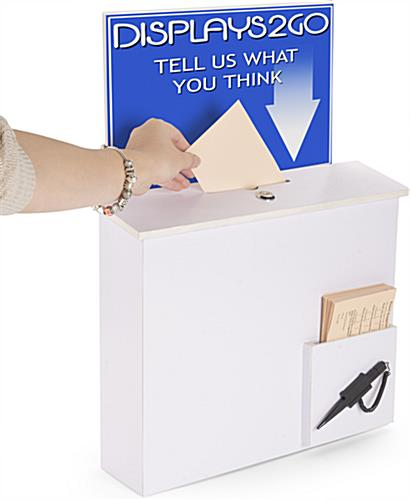 White Donation Box with Sign Holder for Offices