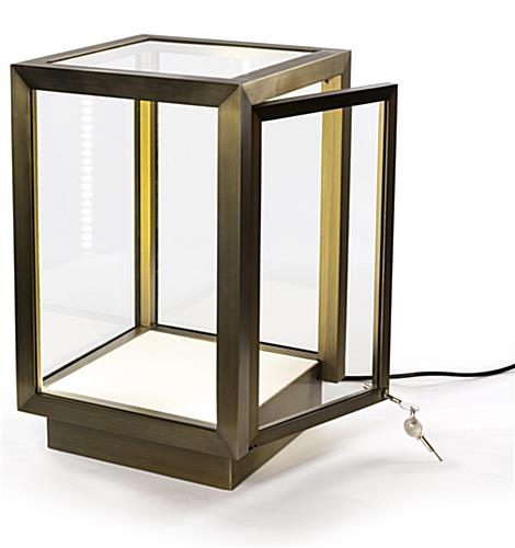 Stainless steel square glass curio box with bronze finish