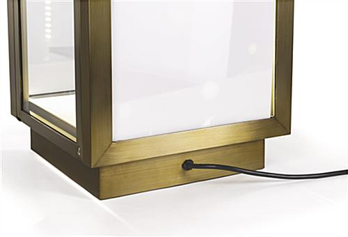 Square glass curio box with 90-inch power cord