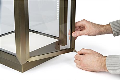 Square glass curio box with secure locking door